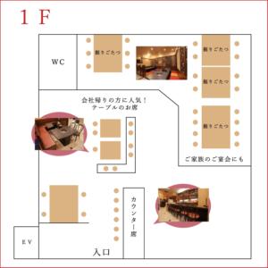 焼肉の金海 店内マップ1F