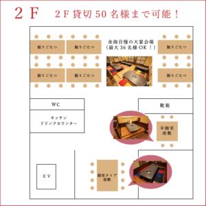 焼肉の金海 店内マップ2F貸切50名様まで可能!